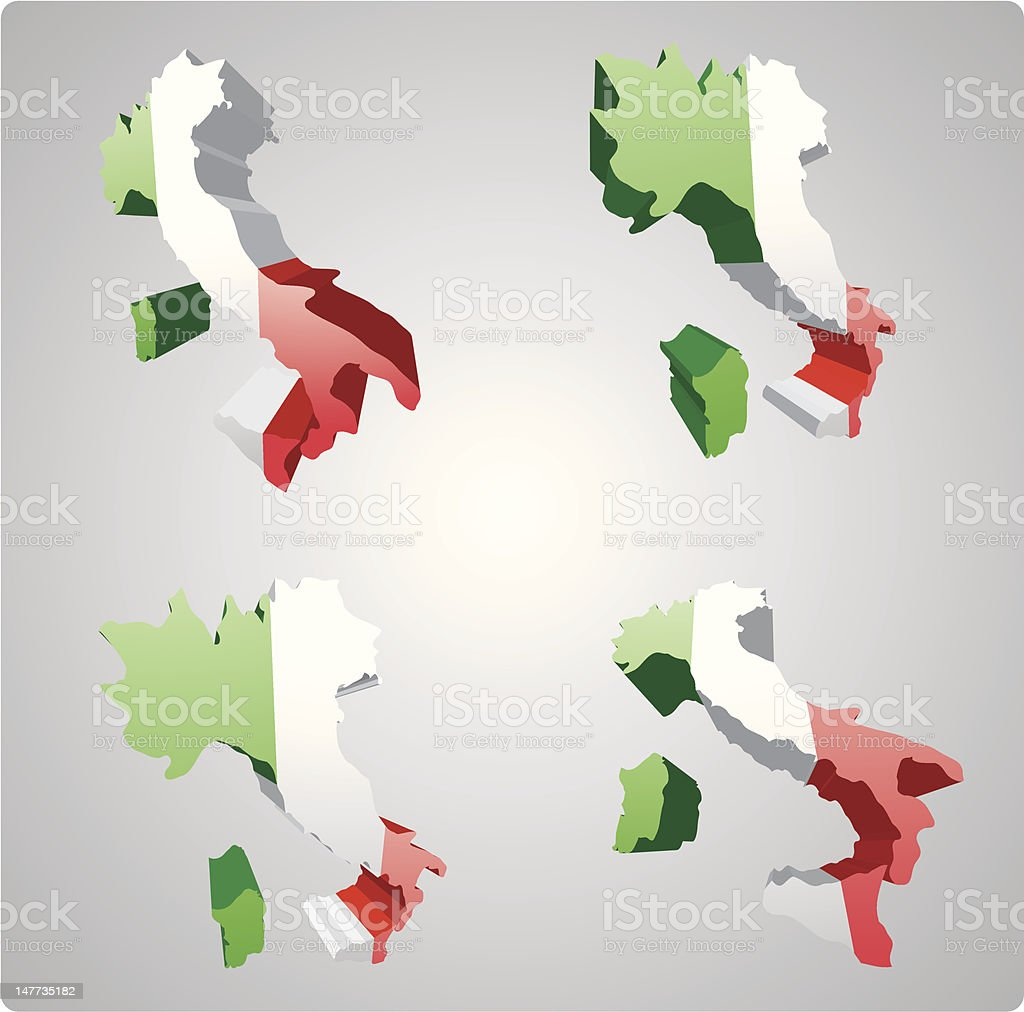 Four Italy 3d views royalty-free stock vector art