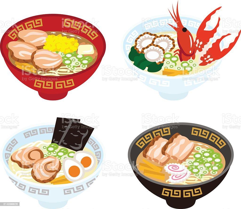 Four Japanese Ramen Noodles vector art illustration