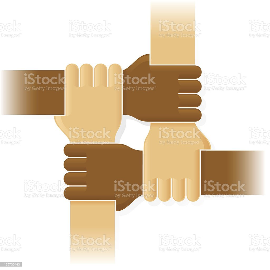 Four joint hands vector art illustration