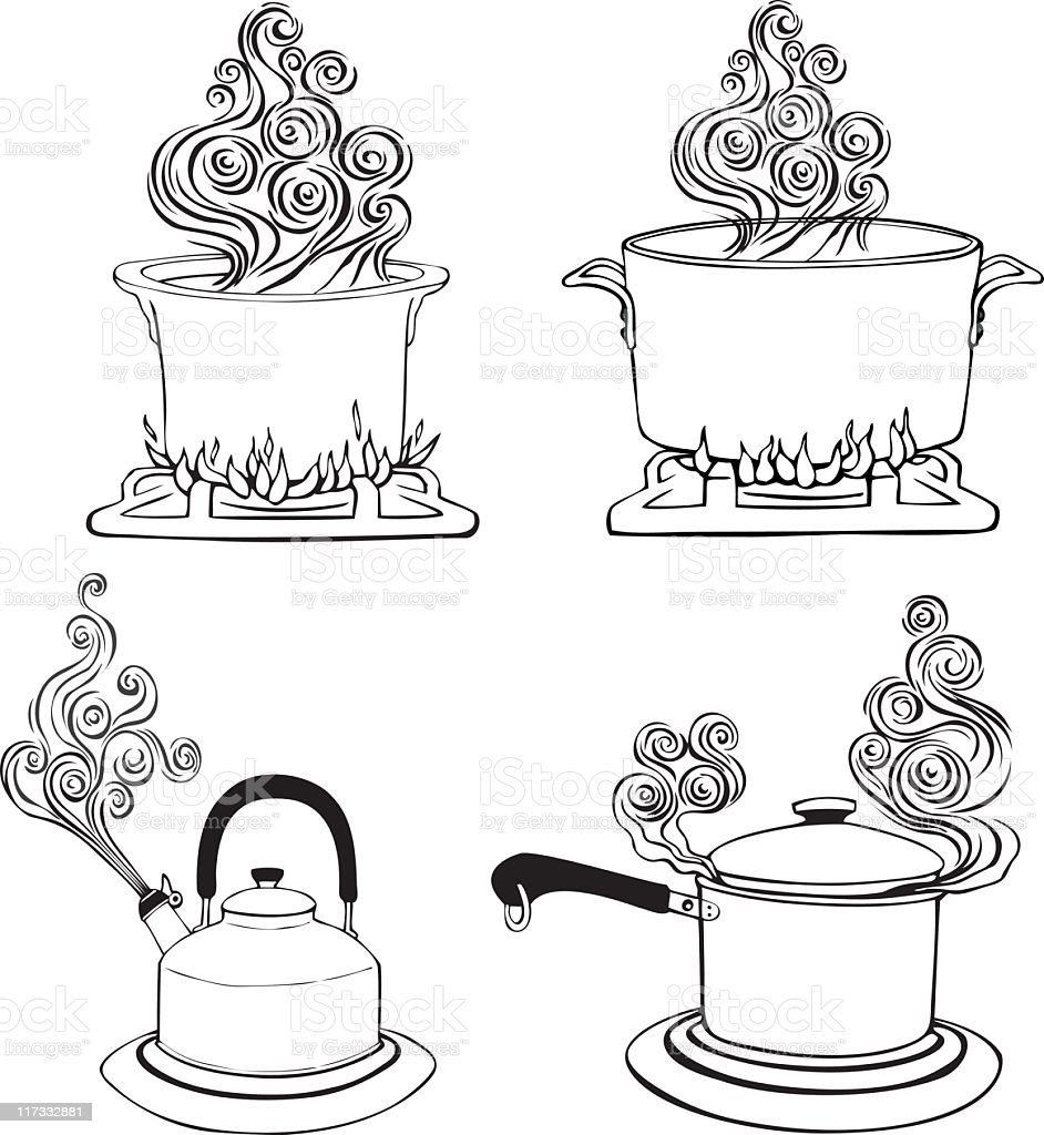 Four kitchen pots with steam vector art illustration