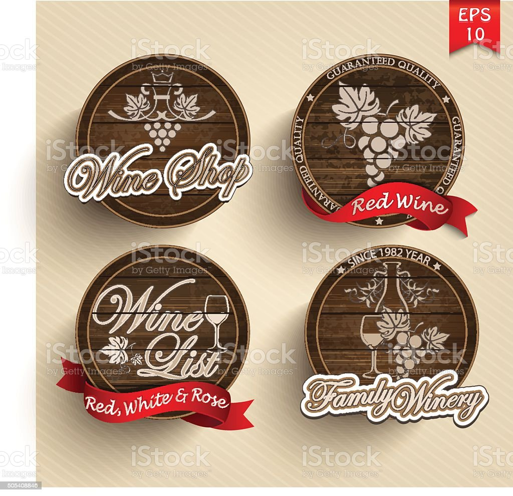 Four labels for wine on wooden casks with red ribbons. vector art illustration