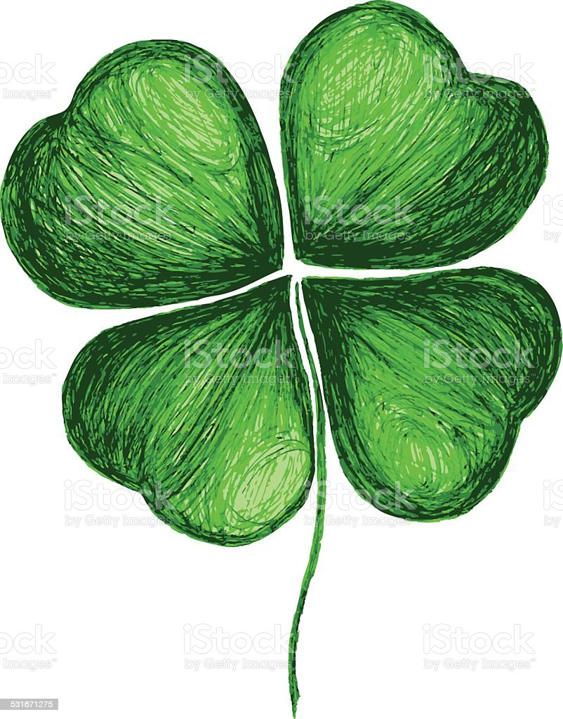 Four leaf clover hand drawing vector art illustration