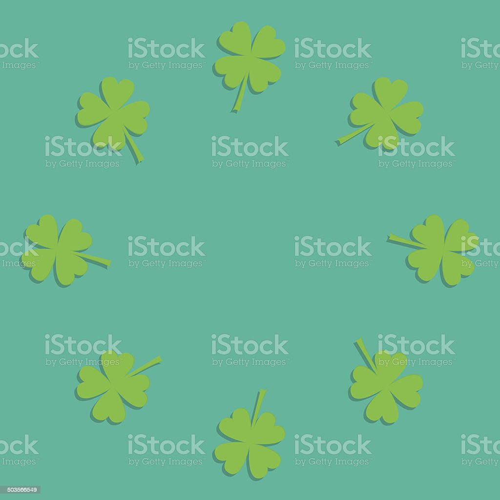 Four leaf clover round frame. Empty. Flat design. royalty-free stock vector art