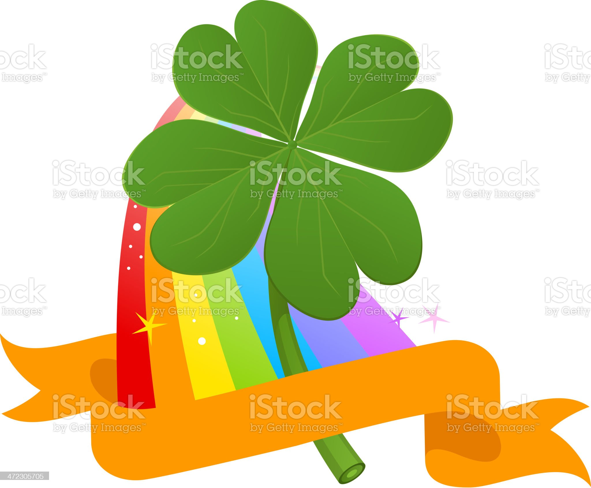 Four Leafs Clover in Multi colored Rainbow pattern banner royalty-free stock vector art