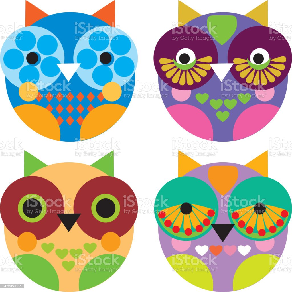 Four little funny owl on white background vector royalty-free stock vector art