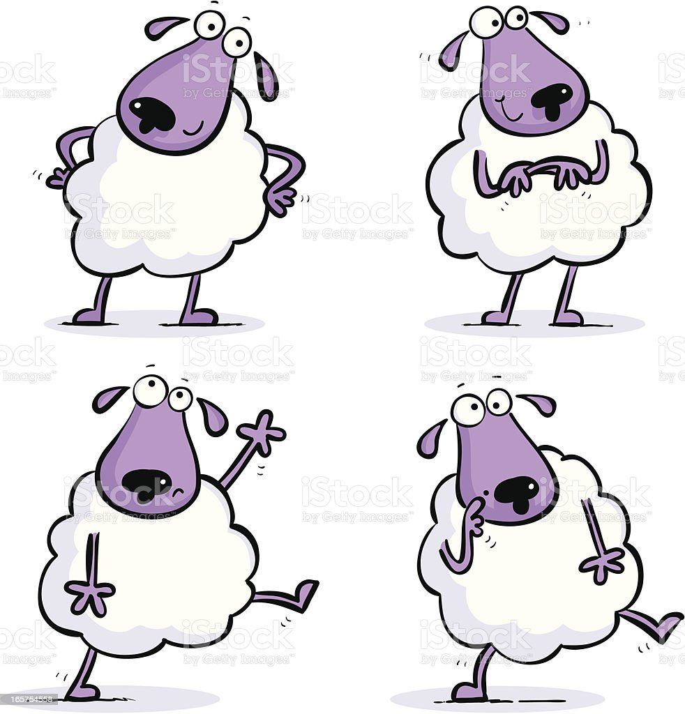 ANOTHER Four Little Sheep royalty-free stock vector art