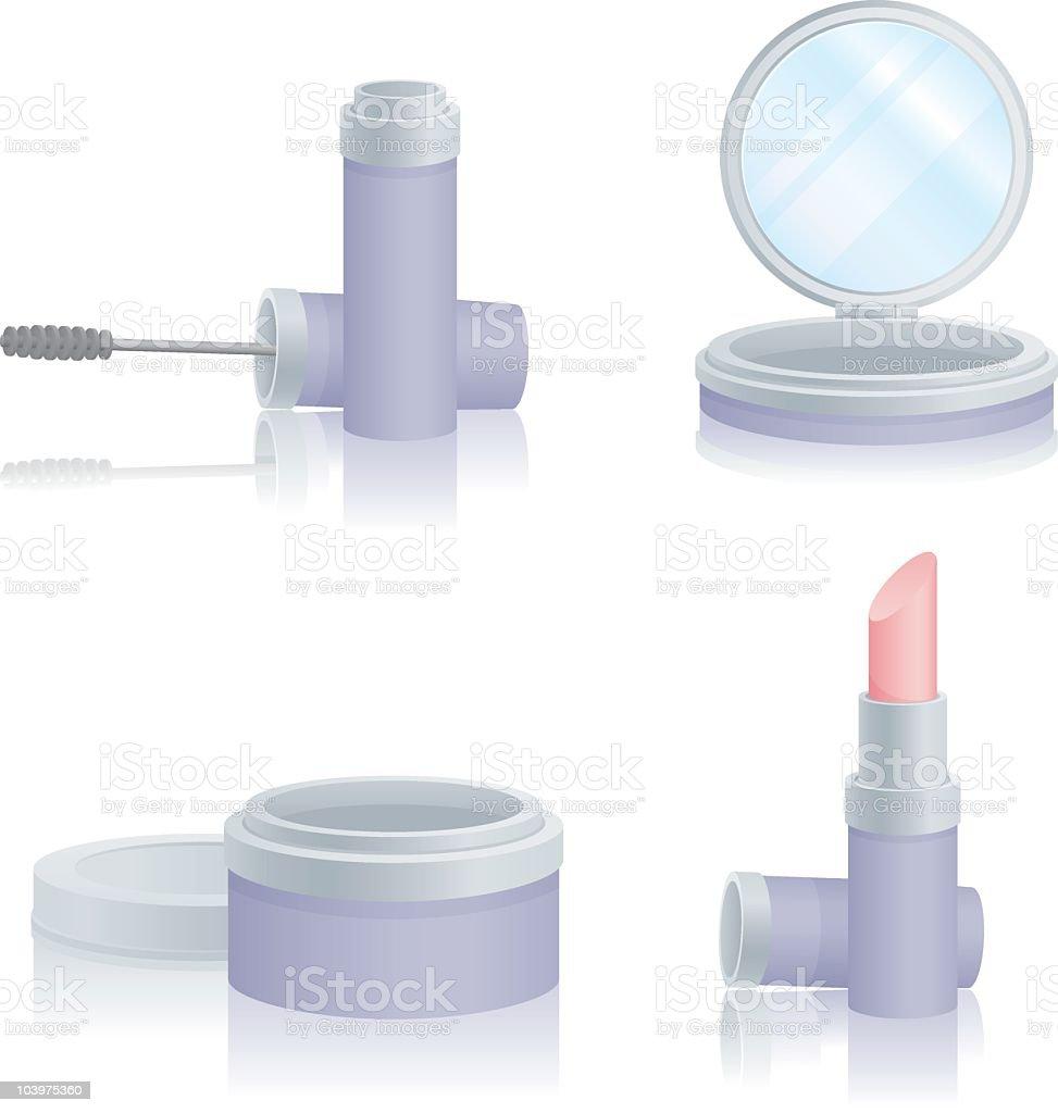 Four Makeup Icons vector art illustration