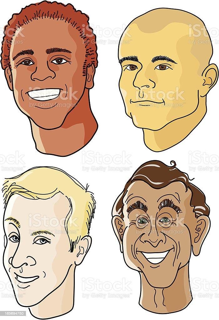 Four Male Faces vector art illustration