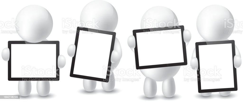 Four men holding the tablet pc royalty-free stock vector art