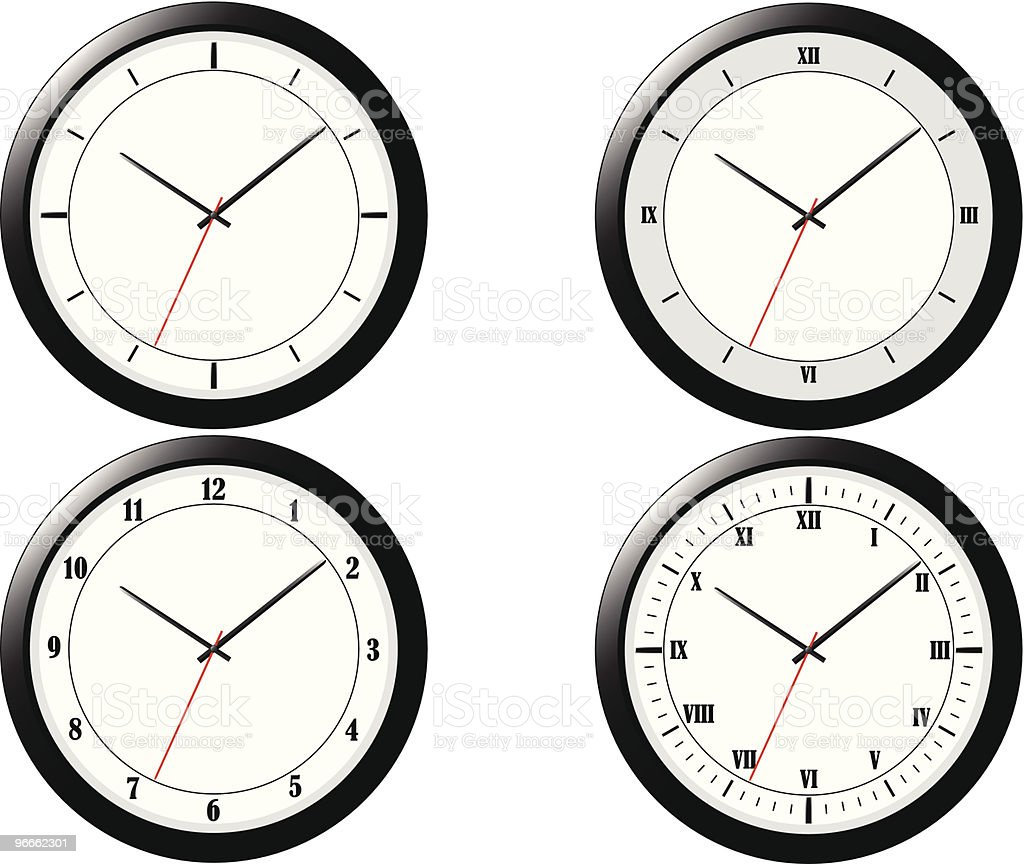 Four Modern Clock Illustrations vector art illustration