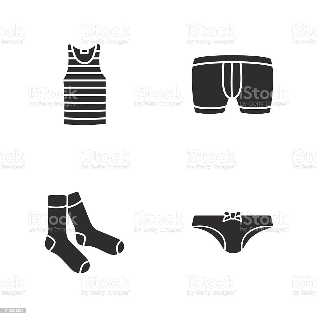four modern clothes icons vector art illustration