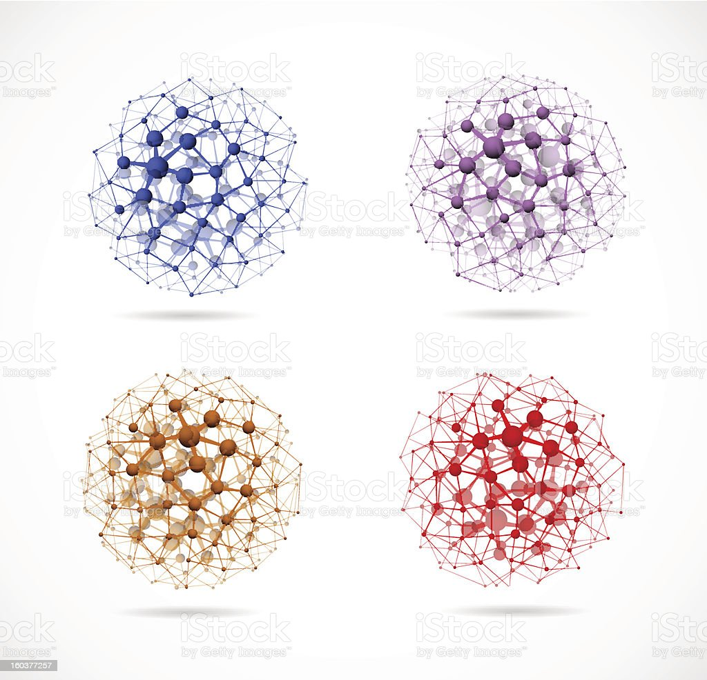 Four molecular spheres royalty-free stock vector art