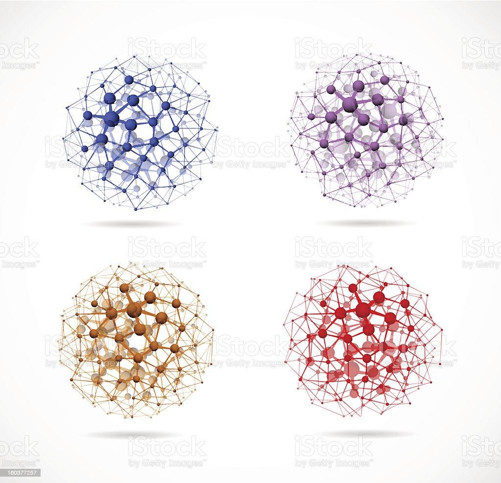 Four molecular spheres vector art illustration