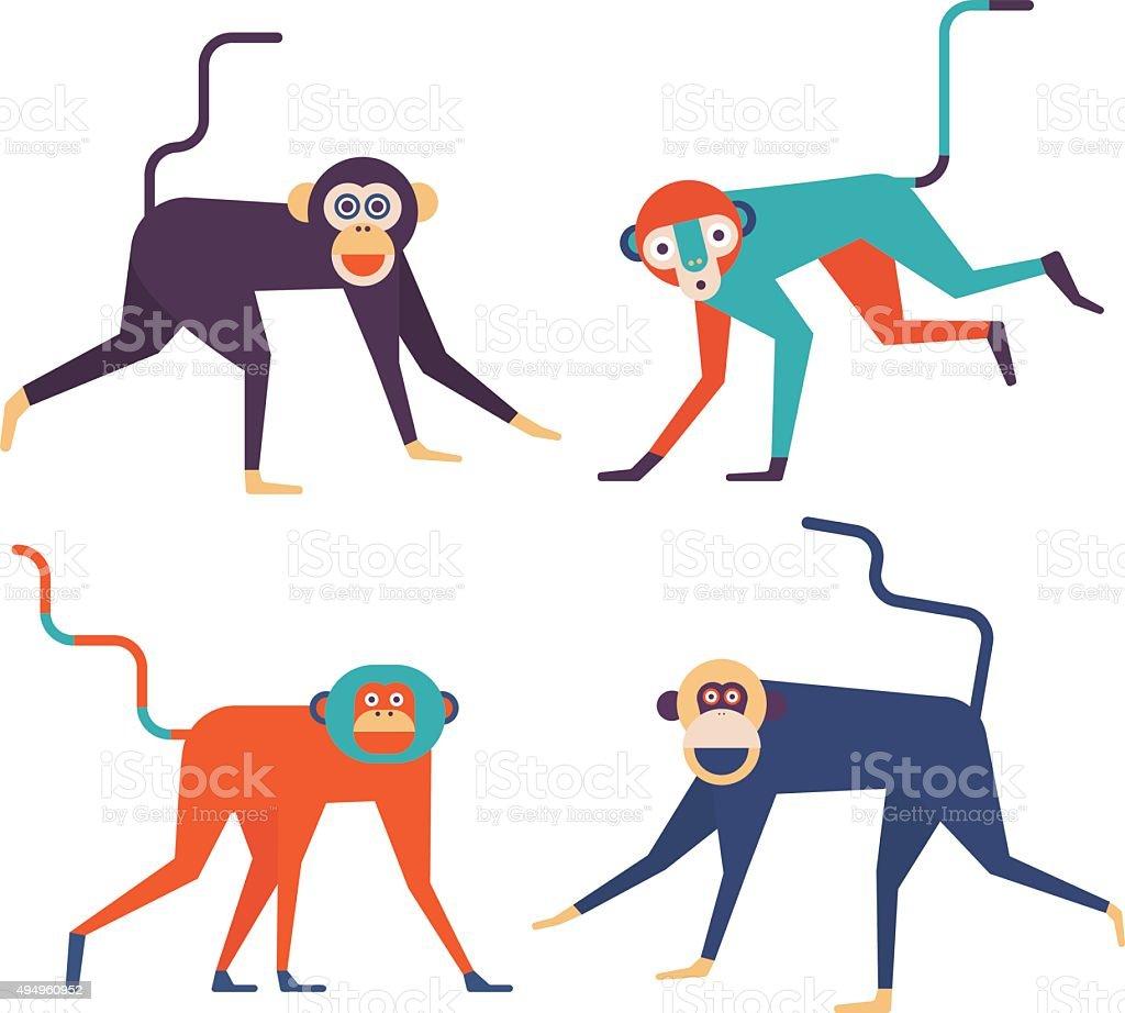 four monkeys icons vector art illustration