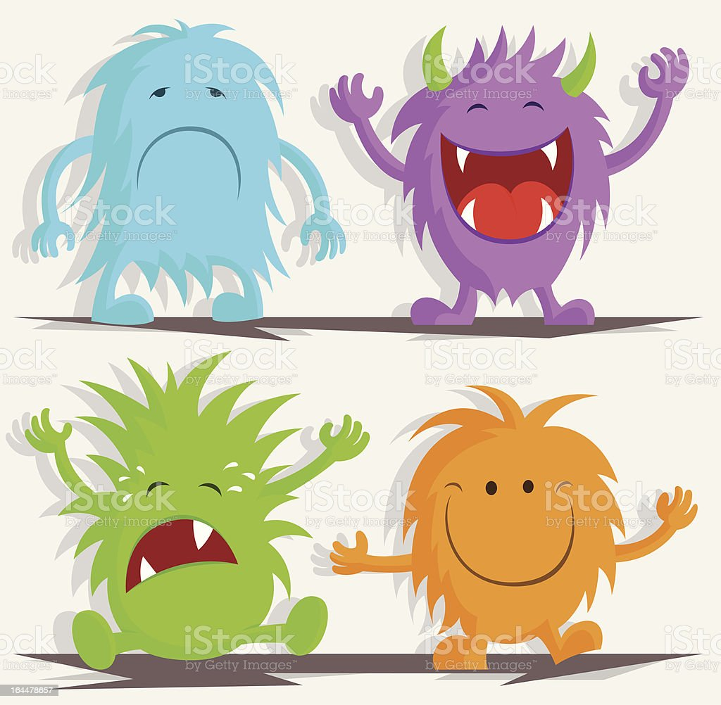 Four Monsters - Sad, Laughing, Crying & Smiling vector art illustration