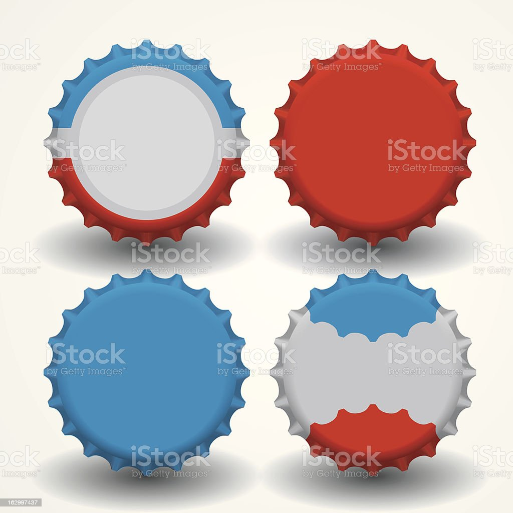Four multicolored bottle caps on white vector art illustration