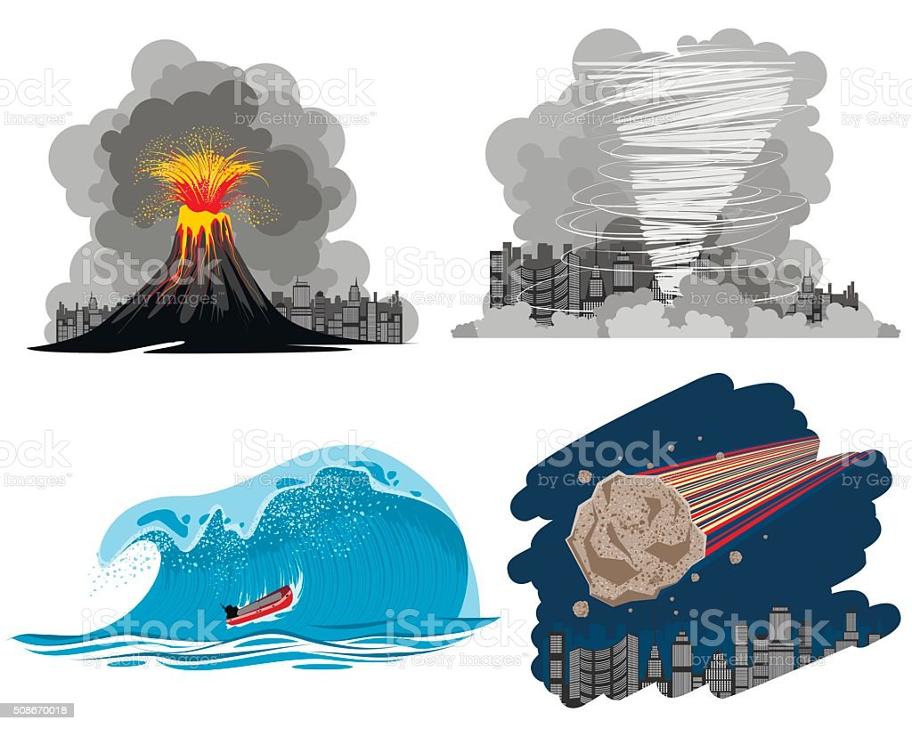 Four natural disasters vector art illustration