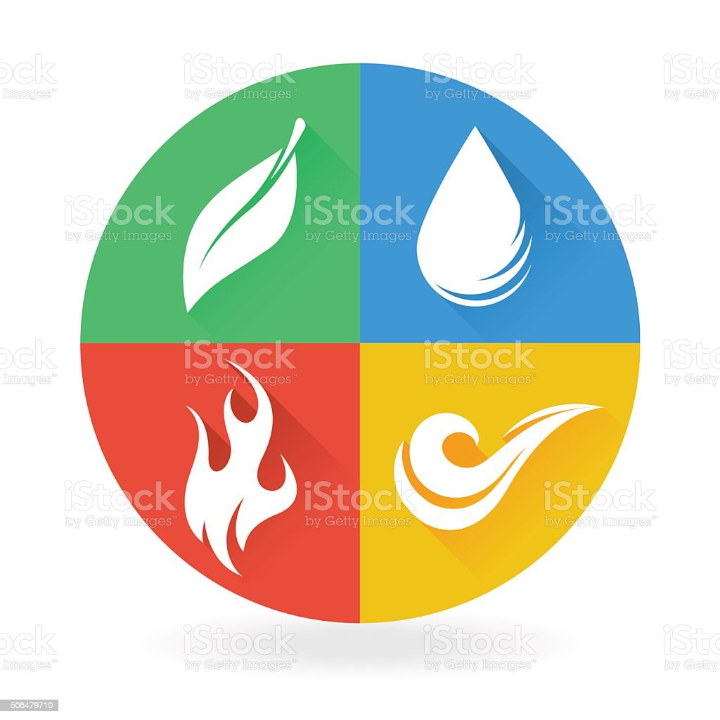 Four natural elements icon designs earth, water, air and fire vector art illustration