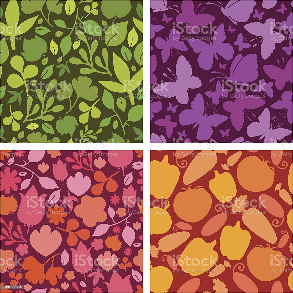 Four Natural Seamless Patterns Backgrounds With Silhouettes royalty-free stock vector art