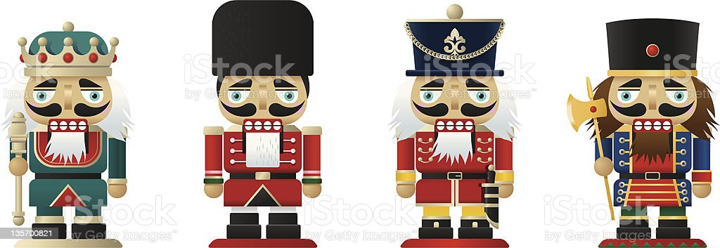 Four nutcrackers on white background vector art illustration