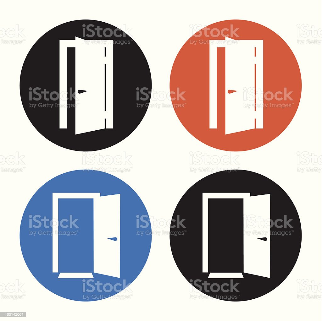 Four open door icons on a white background vector art illustration