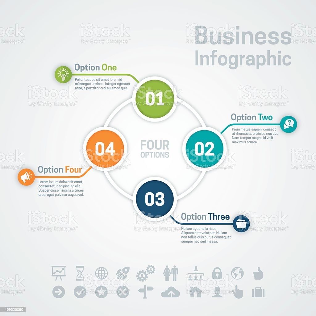 Four Option Business Infographic Chart vector art illustration