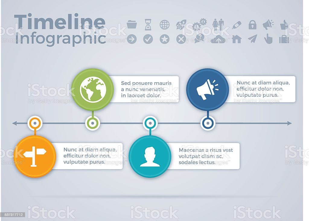 Four Option Process Timeline Infographic vector art illustration