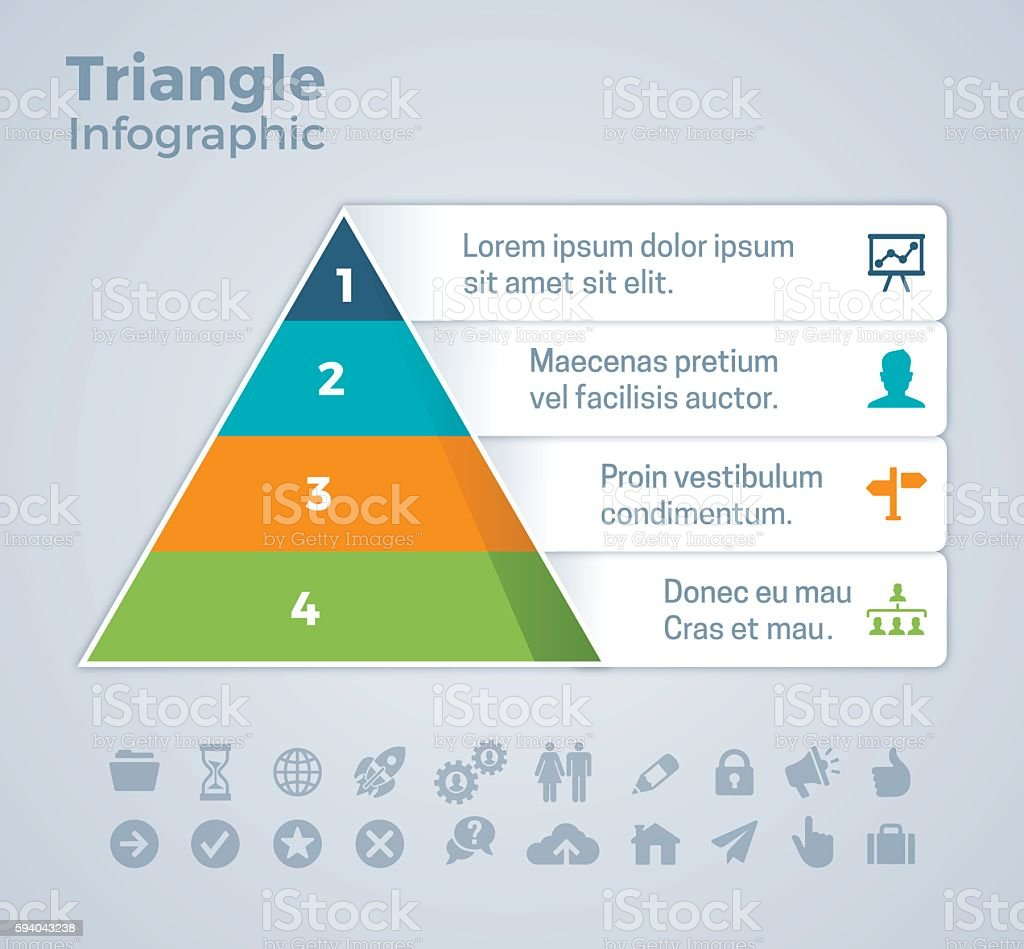 Four Option Triangle Infographic vector art illustration