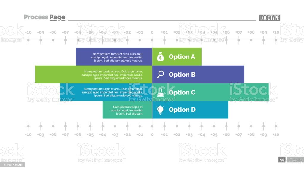 Four Options Bar Chart Slide Template Stock Vector Art