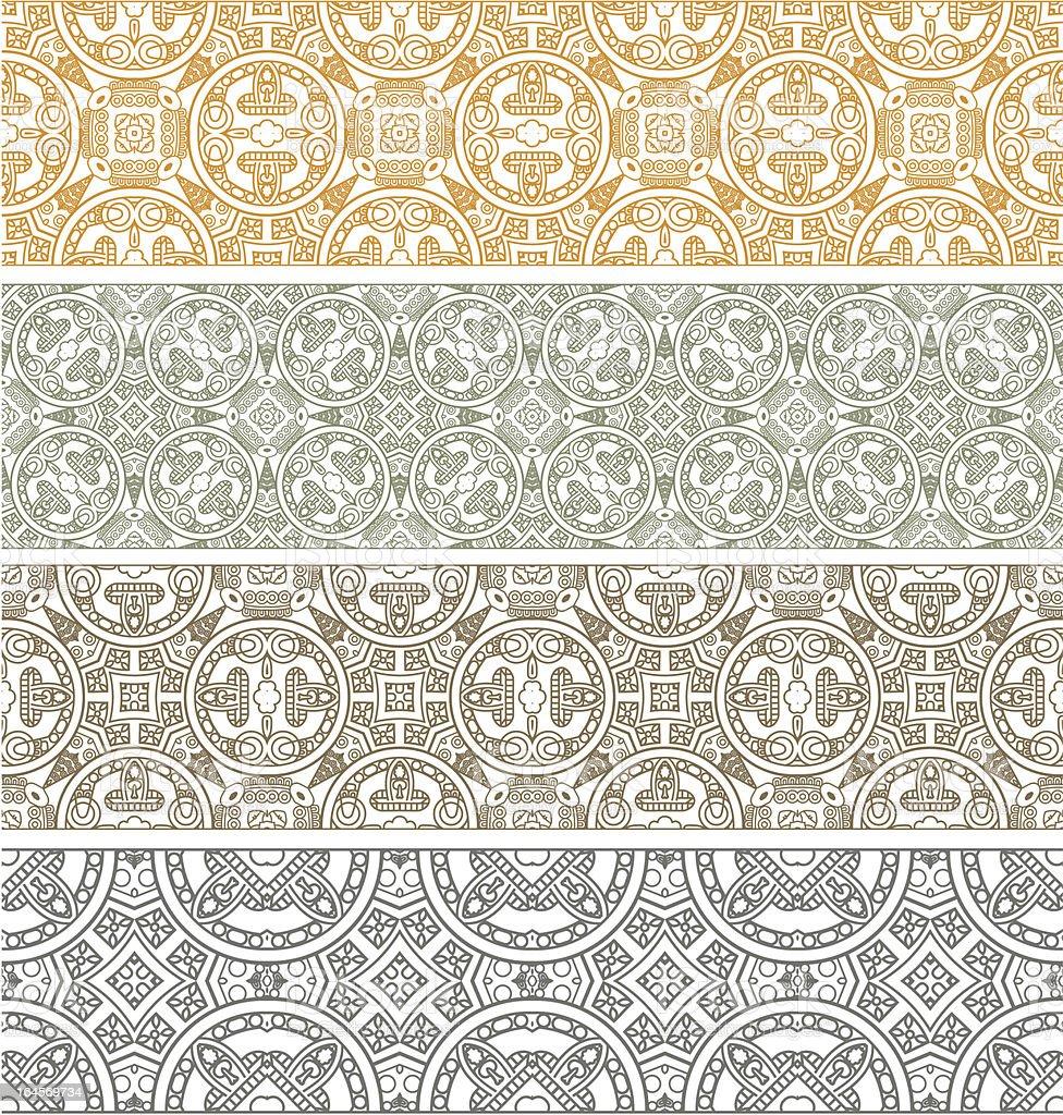 Four ornamental colored patterns vector art illustration