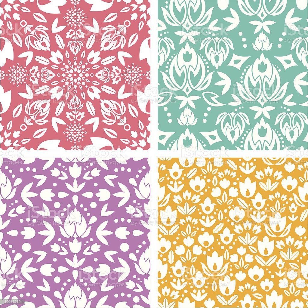 Four Ornamental Seamless Patterns Set royalty-free stock vector art