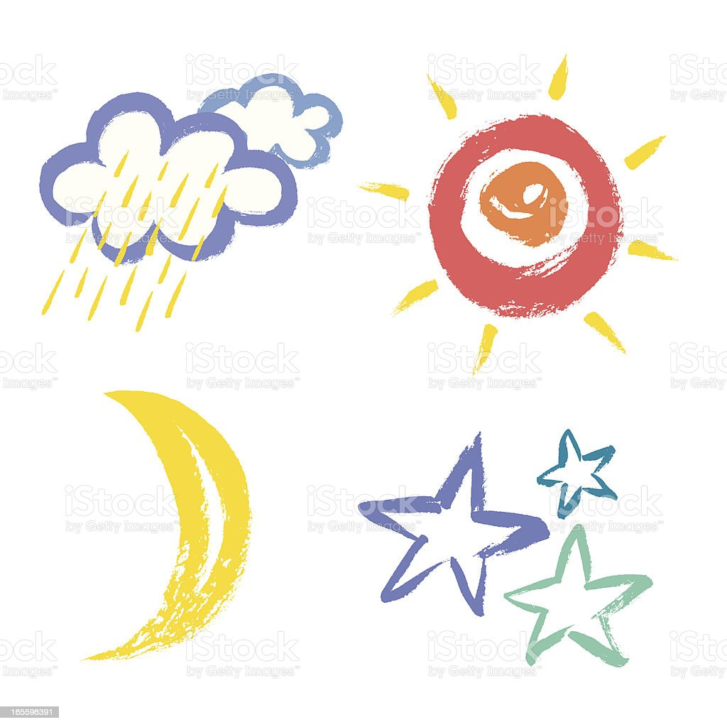Four painted weather icons on white background  royalty-free stock vector art