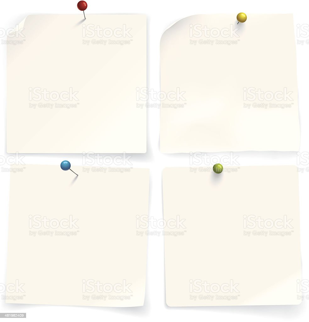 Four paper notes royalty-free stock vector art