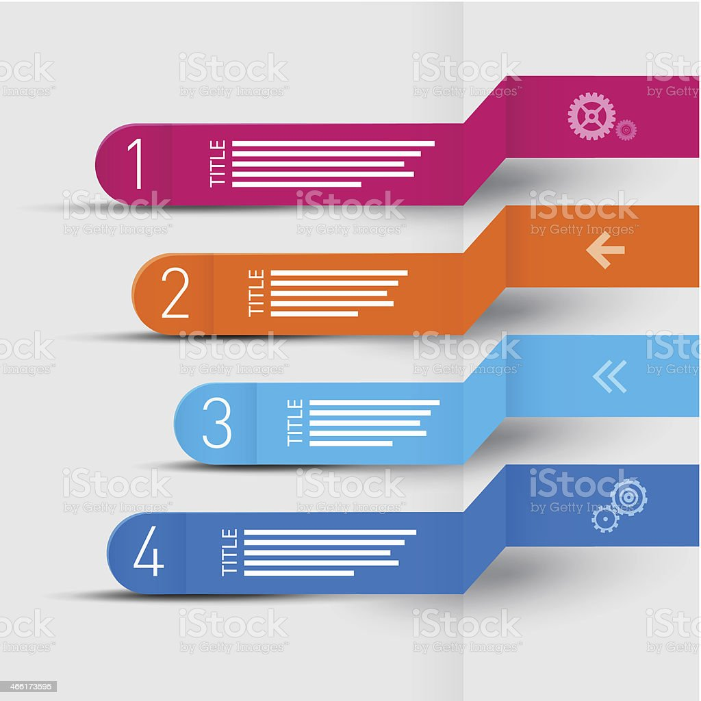 Four Paper Progress Steps for Tutorial royalty-free stock vector art
