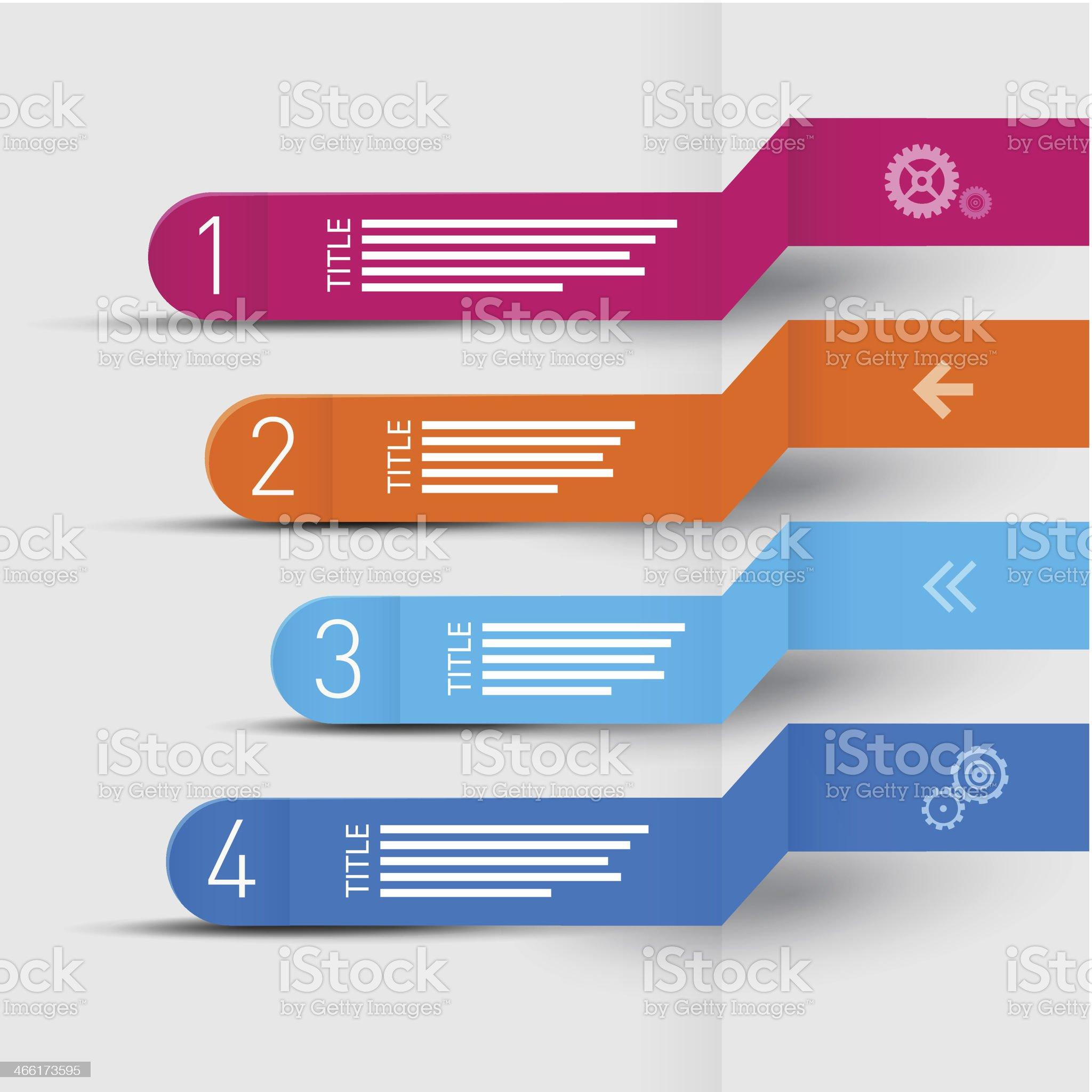 Four Paper Progress Steps for Tutorial royalty-free stock vector art