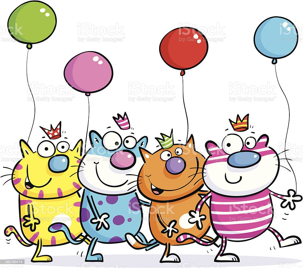Four Party Cats royalty-free stock vector art