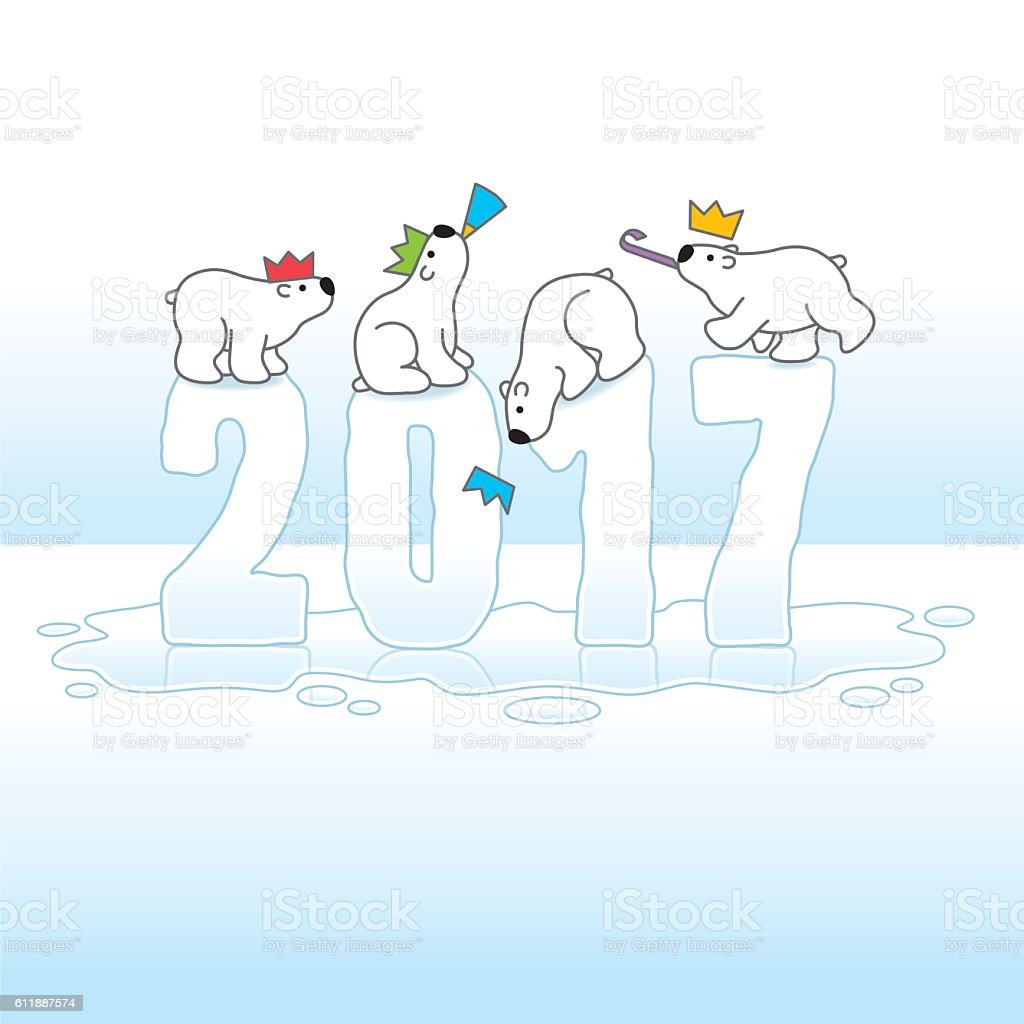 Four Partying Polar Bears Balancing on Melting Ice Year 2017 vector art illustration