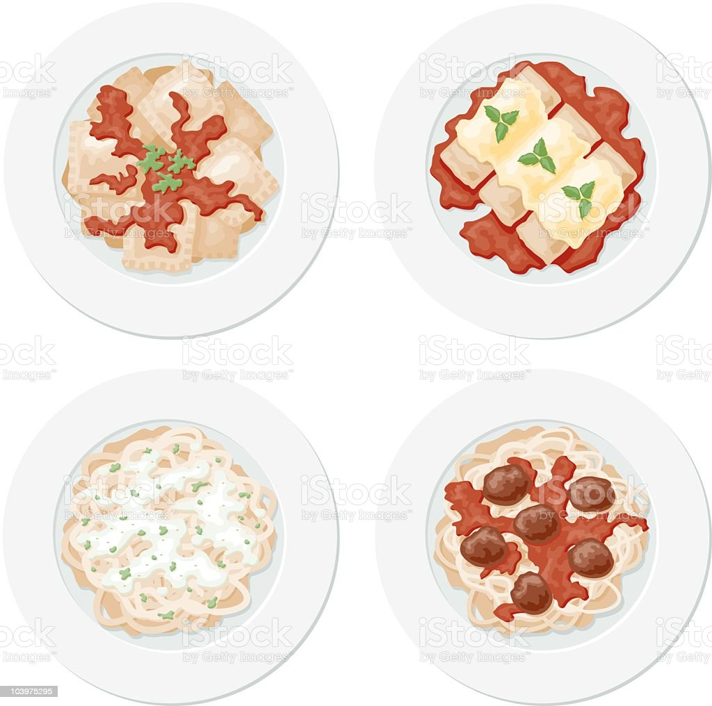 Four Pastas royalty-free stock vector art