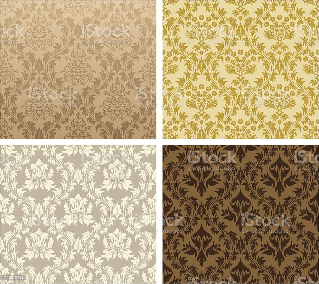 Four patterned prints in different colors royalty-free stock vector art