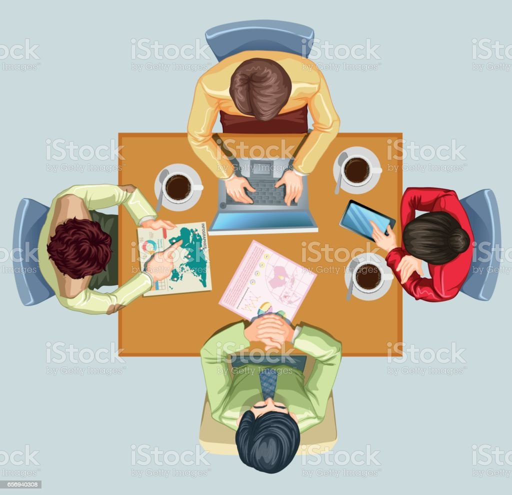 Four people having meeting at the table vector art illustration