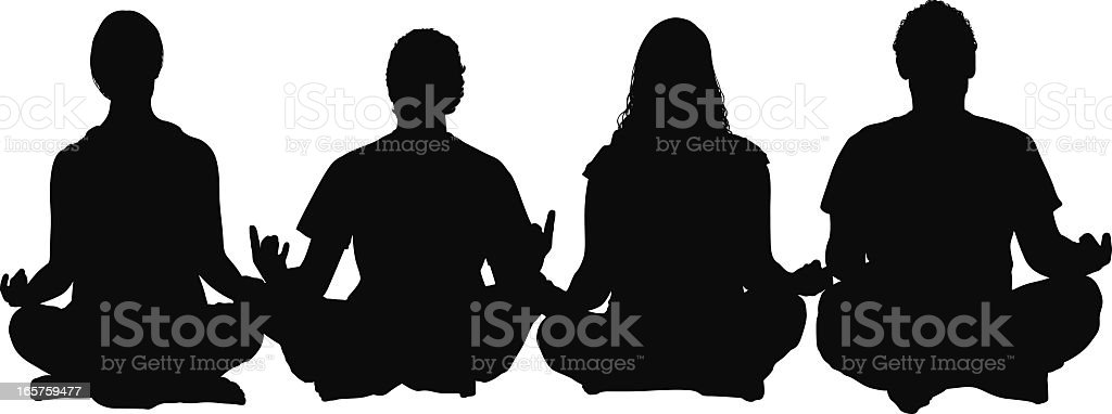 Four people sitting cross legged meditating royalty-free stock vector art