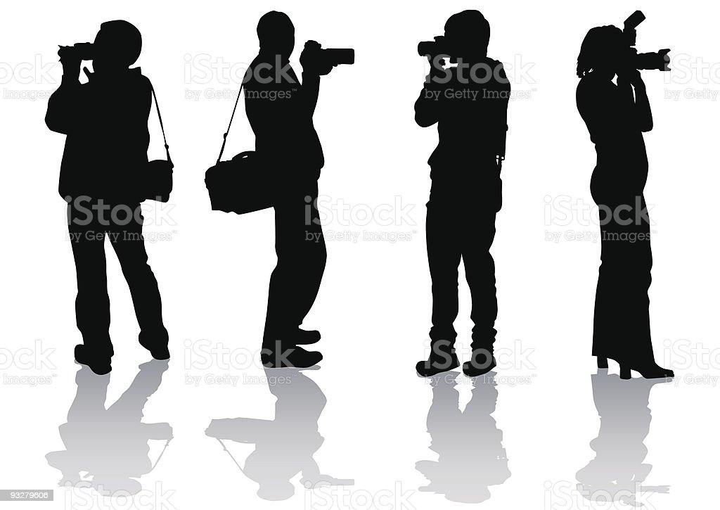 Four photographers royalty-free stock vector art
