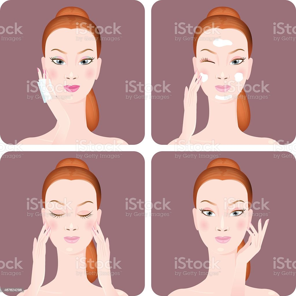 Four picture infographic on using face cream vector art illustration