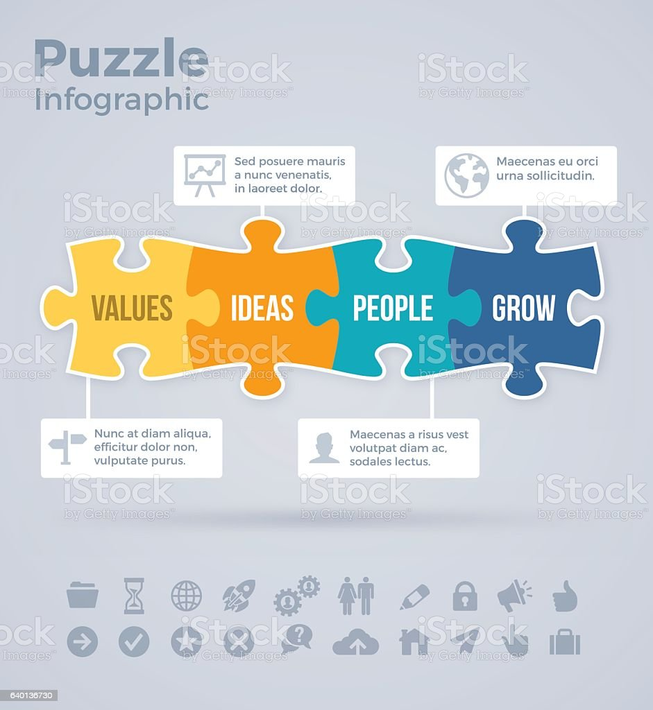 Four Piece Puzzle Infographic vector art illustration