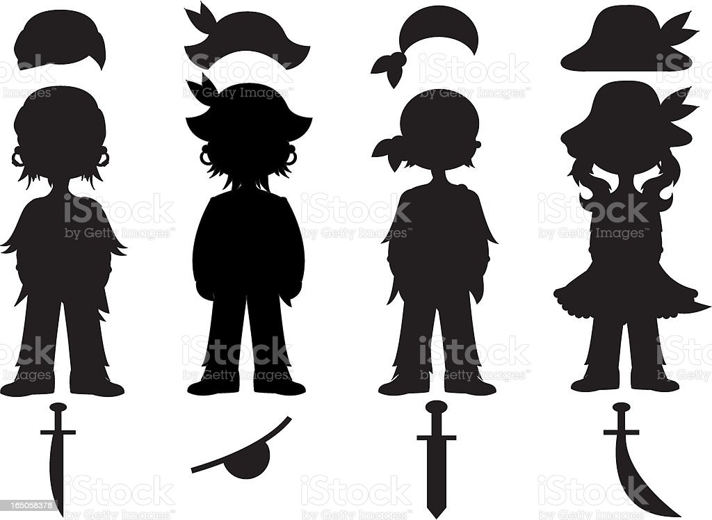 Four Pirate Silhouettes with Accessories vector art illustration