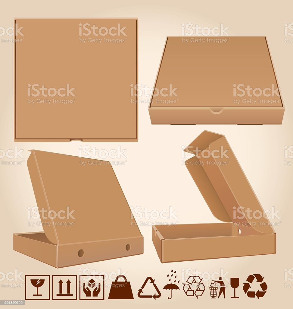 Four pizza box in different positions vector art illustration