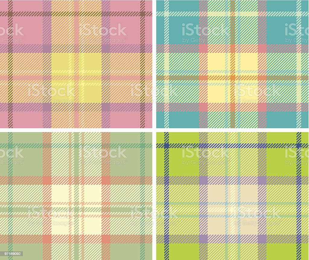 Four plaid squares in various color schemes royalty-free stock vector art