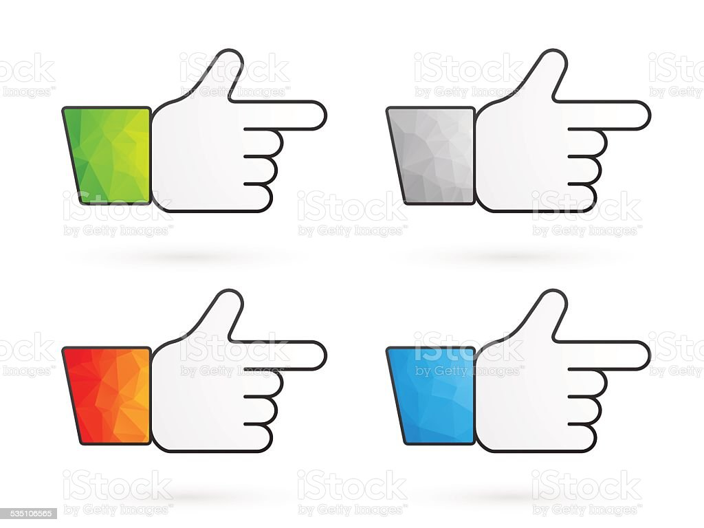four pointers with multi colored triangles sleeves vector art illustration