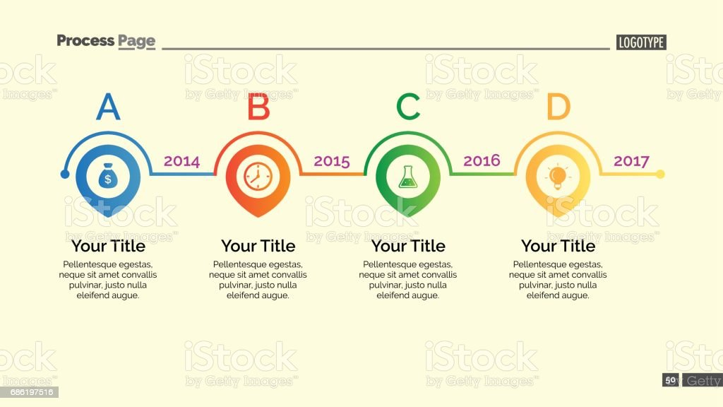 four points timeline slide template のイラスト素材 686197516 istock