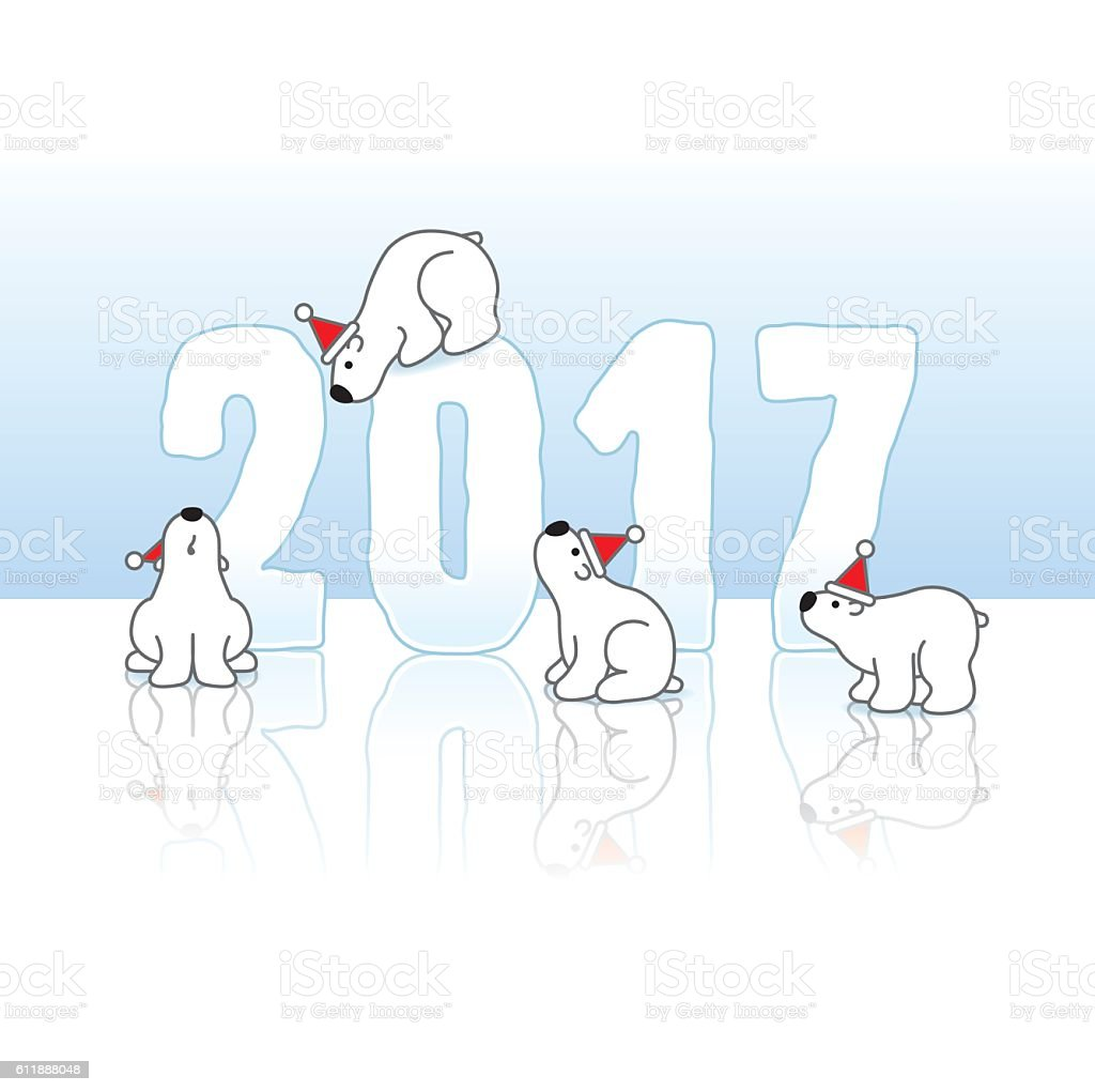 Four Polar Bears around 2017 Year in Ice vector art illustration